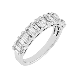 14K White Gold / 6 Diamond Baguette Ring 14K - Adina's Jewels