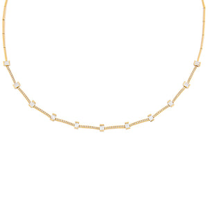 14K Gold Diamond Baguette X Bar Necklace 14K - Adina's Jewels