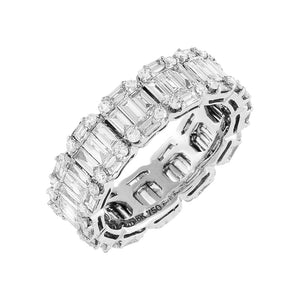 14K White Gold / 6.5 Diamond Baguette X Solid Band Ring 18K - Adina's Jewels