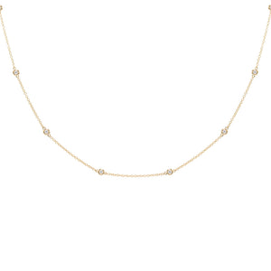 14K Gold Diamond Bezel Chain Necklace 14K - Adina's Jewels