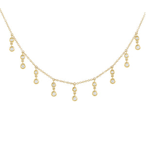 14K Gold Diamond Bezel Dangle Choker 14K - Adina's Jewels