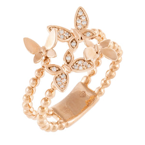 14K Rose Gold / 6.5 Diamond Butterfly Beaded Ring 14K - Adina's Jewels