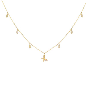 14K Gold Diamond Butterfly X Teardrop Necklace 14K - Adina's Jewels