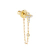 14K Gold Diamond Cross Chain Stud Earring 14K - Adina's Jewels