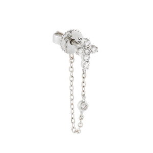 14K White Gold Diamond Cross Chain Stud Earring 14K - Adina's Jewels