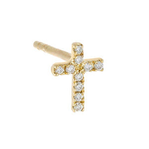 14K Gold / Single Diamond Dainty Cross Stud Earring 14K - Adina's Jewels