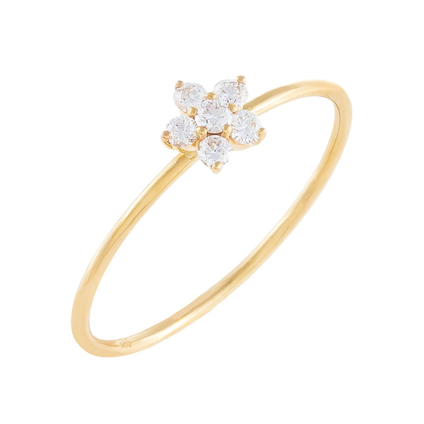 14K Gold / 6.5 Diamond Dainty Flower Ring 14K - Adina's Jewels