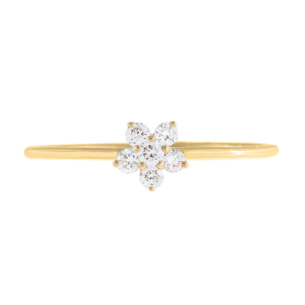 Diamond Dainty Flower Ring 14K - Adina's Jewels