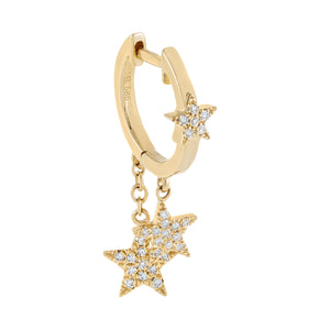 14K Gold / Single Diamond Dangling Star Huggie Earring 14K - Adina's Jewels