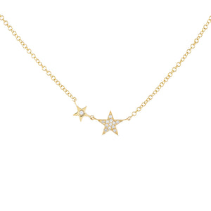 14K Gold Diamond Double Star Necklace 14K - Adina's Jewels
