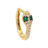 Emerald Green / Single Diamond Snake Huggie Earring 14K - Adina's Jewels
