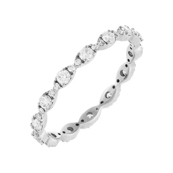 14K White Gold / 6 Diamond Evil Eye Band 14K - Adina's Jewels