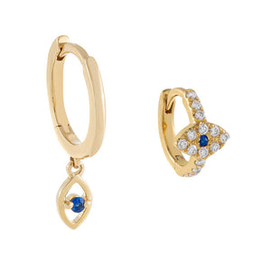 Sapphire Blue Evil Eye Huggie Earring Combo Set 14K - Adina's Jewels