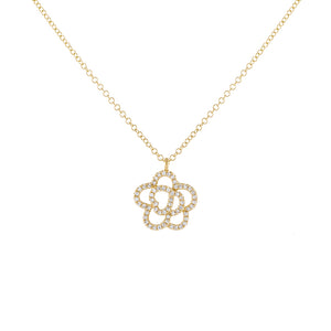 14K Gold Diamond Flower Necklace 14K - Adina's Jewels