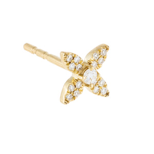 14K Gold / Single Diamond Four Petal Flower Stud Earring 14K - Adina's Jewels