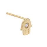 14K Gold / Single Diamond Hamsa Stud Earring 14K - Adina's Jewels