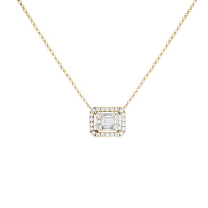 14K Gold Diamond Illusion Sideways Baguette Pendant Necklace 14K - Adina's Jewels