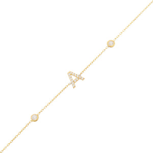 14K Gold Diamond Initial Bezel Bracelet 14K - Adina's Jewels