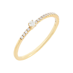 14K Gold / 7 Diamond Micropavé X Solitaire Ring 10K - Adina's Jewels