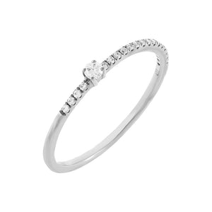 14K White Gold / 7 Diamond Micropavé X Solitaire Ring 10K - Adina's Jewels