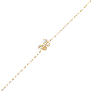 14K Gold Diamond Mini Butterfly Bracelet 14K - Adina's Jewels