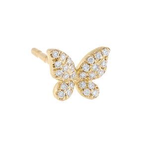 14K Gold / Single / 5 MM Diamond Mini Butterfly Stud Earring 14K - Adina's Jewels