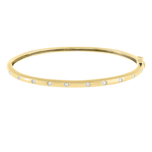 14K Gold Diamond Multi Stone Bangle 14K - Adina's Jewels