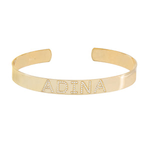14K Gold / 16 CM. Diamond Name Bangle 14K - Adina's Jewels