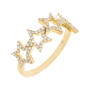 14K Gold / 6.5 Diamond Open Star Ring 14K - Adina's Jewels