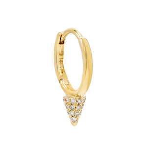 14K Gold / Single Diamond Point Huggie Earring 14K - Adina's Jewels