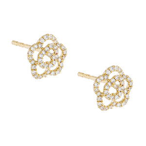 14K Gold / Pair Diamond Rose Flower Stud Earring 14K - Adina's Jewels