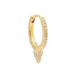 14K Gold / Single Diamond Spike Huggie Earring 14K - Adina's Jewels