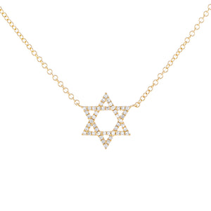 14K Gold Diamond Star of David Necklace 14K - Adina's Jewels