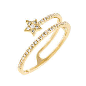 14K Gold / 6.5 Diamond Star Wrap Ring 14K - Adina's Jewels