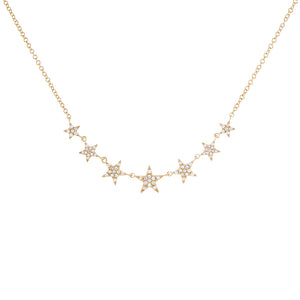14K Gold Diamond Stars Necklace 14K - Adina's Jewels