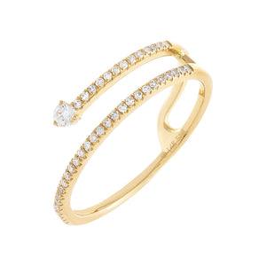 14K Gold / 6.5 Diamond Stone Wrap Ring 14K - Adina's Jewels