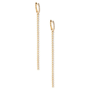 14K Gold / Pair Diamond Tennis Drop Huggie Earring 14K - Adina's Jewels