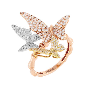 14K Rose Gold / 7 Diamond Trio Butterfly Bamboo Ring 18K - Adina's Jewels
