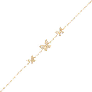 14K Gold Diamond Triple Butterfly Bracelet 14K - Adina's Jewels