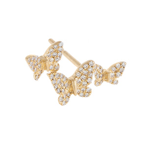14K Gold Diamond Triple Butterfly Stud Earring 14K - Adina's Jewels
