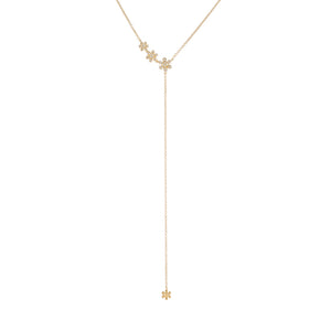 14K Gold Diamond Triple Flower Lariat 14K - Adina's Jewels