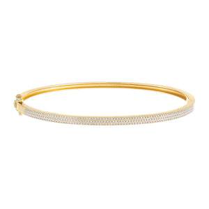 14K Gold / 17 CM. Diamond Triple Row Bangle 14K - Adina's Jewels