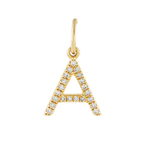 14K Gold Diamond Uppercase Initial Charm 14K - Adina's Jewels