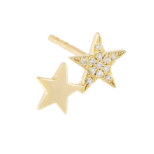 14K Gold / Single Diamond X Solid Double Star Stud Earring 14K - Adina's Jewels
