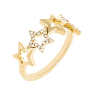 14K Gold / 6.5 Diamond X Solid Open Star Ring 14K - Adina's Jewels