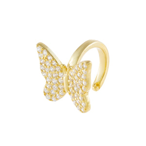 Gold / Single Pavé Butterfly Ear Cuff - Adina's Jewels