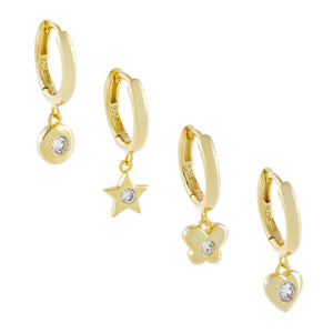CZ Multi Charms Huggie Earring Combo Set Gold - Adina's Jewels