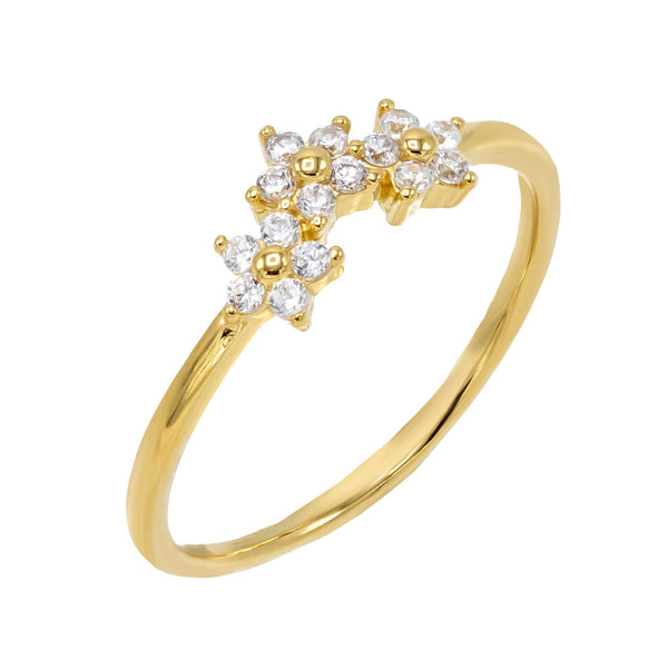 Gold / 8 CZ Flower Cluster Ring - Adina's Jewels
