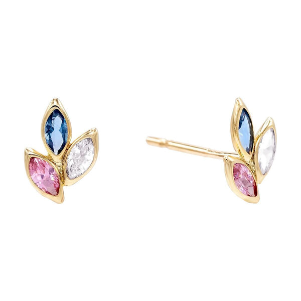 Multi-Color / Pair Pastel Leaf Stud Earring 14K - Adina's Jewels