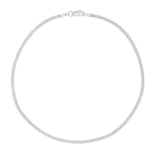 14K White Gold Cuban Chain Anklet 14K - Adina's Jewels